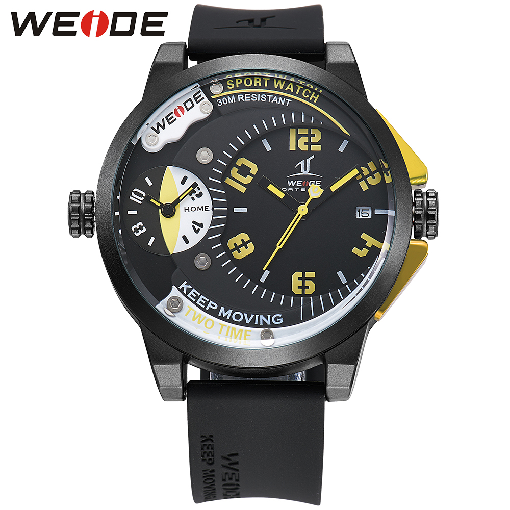 WEIDE Men Quartz-Watch Yellow Numbers Silicone Strap Japan Movement Running Outdoor Men Sports Watches Waterproof Analog Watch<br>