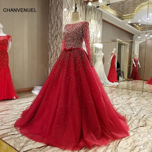 LS88976 long sleeves evening gown corset back heavy beaded shiny A line long evening dress on sale abendkleider lang real photos(China)