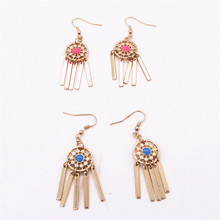 New fashion red/blue enamel circular alloy tassel earrings 2017 earrings wholesale accessories manufacturers