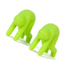 FSLH 2Pcs Cute Villain Kitchen Accessories Prevent Overflowing Soup Cooking Pot Silicone Spoon Chopstick Rest Clip Holder green