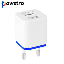 POWSTRO USB Wall Charger Travel Dual 2Ports Adapter For iPhone Samsung iPad Android Phone Charger US Plug or EU Plug 1A 2.1A
