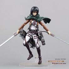 "Free Shipping Anime Attack on Titan Figma 203 Mikasa Ackerman 6"" PVC Action Figure Collectible Model Toy ATFG057(China)"