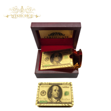 2017 Promotional Products Gold Playing Cards Colored Dollar Style Gold Foil Plated Playing Cards With Red Box For Gifts(China)