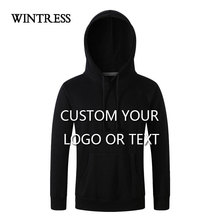 WINTRESS Can Custom Logo Fleece Sweatshirt Women Pure Color Long Sleeve Hooded Pullover Hoodies Tops Female Pockets(China)