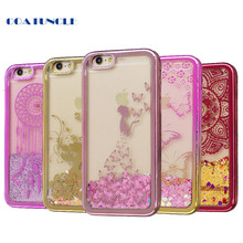 Soft TPU Phone Case For Apple iphone 6 6S 6G Plating shell Case Dynamic Bling Liquid Glitter Quicksand Back Cover For iphone6