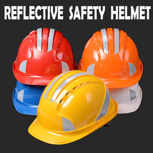 ABS safety helmets with 3M reflective stickers Work Cap ABS Insulation Material Construction Site free shipping(China)