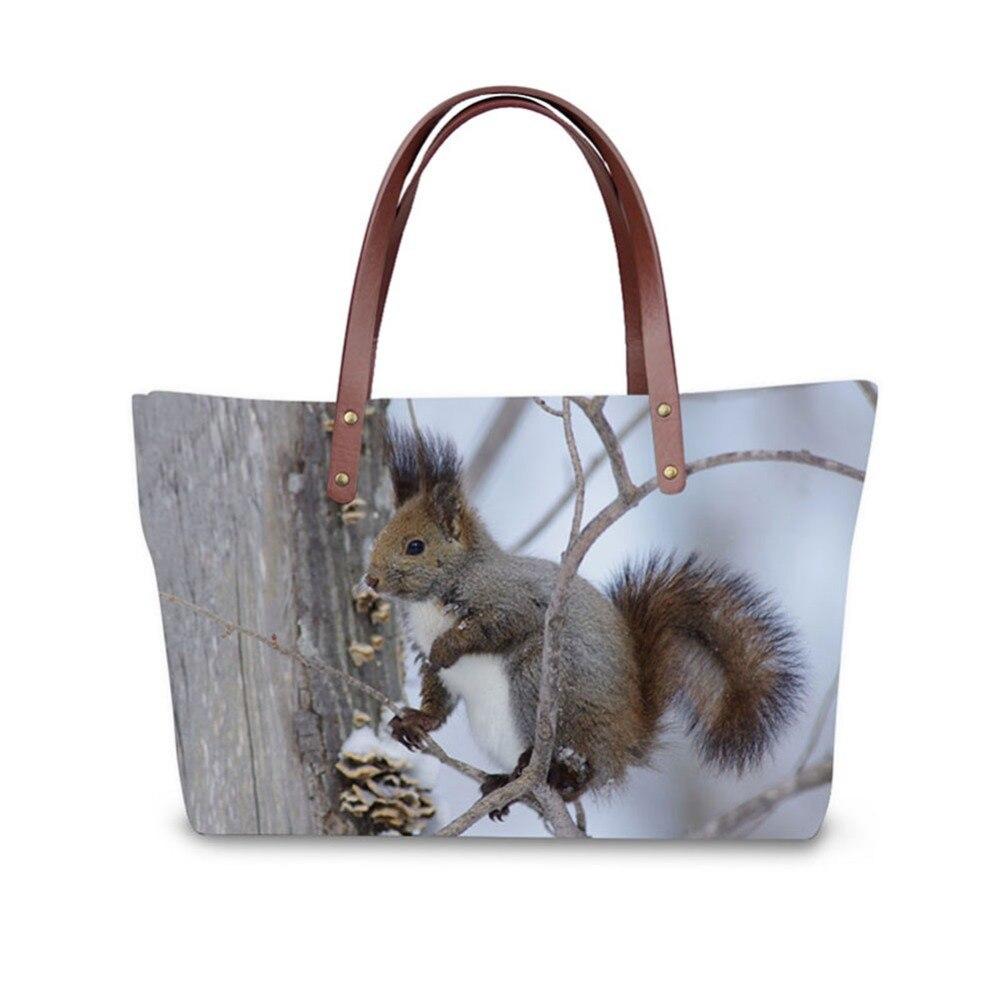 3D  Cute little squirrel print ladies handbag women lovely note pattern handbags handbag+messenger bag+purse multifuction bags<br>