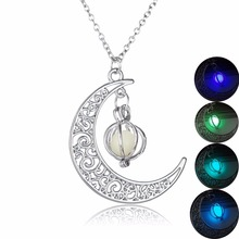 Buy Josbores Fashion Shine Moon Charm Luminous Stone Necklaces Women Creative Pendant Necklace Statement Jewelry Kid Gift for $1.49 in AliExpress store