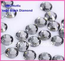 Free Shipping! 1440pcs/Lot, ss20 (4.8-5.0mm) High Quality DMC Black Diamond Iron On Rhinestones / Hot fix Rhinestones