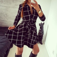 Explosions 2017 Leisure Vintage Dresses Autumn Fall Women Plaid Check Print Spring Casual Shirt Dress Mini
