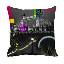 London city bridge printed customized home decorative cushion covers almofadas grey throw pillow case for sofa chair