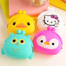 Korean Candy Colored Girls Coin Bag Cute Cartoon Silicone Mini Coin Purse Children Kids Gifts Pencil Bag Case(China)