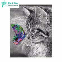 5D DIY Diamond Painting Cat Crystal Diamond Painting Cross Stitch Gray Cat &Color Butterfly Needlework Home Decorative