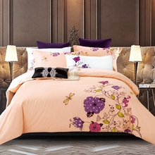 Beige color floral bedding set queen king size 100% cotton duvet cover bed sheet pillow covers embroidery designer bedding soft