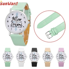 SUNWARD Relogio Feminino Women Dress Watches Follow Dreams Words Pattern PU Leather Mint Green Stylish wholesale Jan711