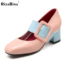 Size 31-46 New Arrival 2016 Brand Same Design Spring Women Shallow Mouth Single Pump Big Square Buckle Square Toe Shoes K00607(China)