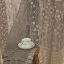 Warp Knitting Leaf Pattern Tulle Window Curtain Sheer Curtains For Livingroom Bedroom Jacquard Embroidered Curtain Panel