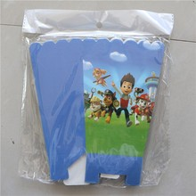 18pcs/lots Paw Patrol prints Popcorn Cup Box  Happy Birthday Party  Candy Box for kids Favor Gift