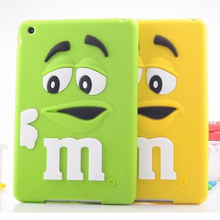 Case sfor iPad4 Cover Cute Silicone Rainbow Candy M & M Chocolate Bean Case for iPad 2 3 4 Tablet Accessories
