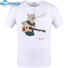 IALLYGOOD STUDIOS 2017 Fashion Men T-shirt Short Sleeve Novelty Creative Guitar Cat Wolf Music Print Tee Shirts Cool Funny Tops
