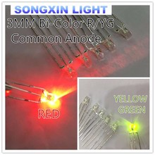 500pcs 3mm Transparent 3 pin Red Green R/YG Bicolor LED Common Anode Super Bright 3mm Light-Emitting Diode LED Lamp Bi-color