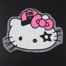 Clothes girl sequins patch sewing patches for clothing 28cm Hello Kitty Diy Jacket Shirt Polo Cap Jeans Free shipping
