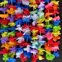 50Pcs Hawaiian artificial Flowers leis Garland Necklace Fancy Dress Party Hawaii Beach Fun Flowers DIY Party Beach Decoration