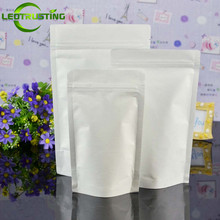 50pcs White Stand up Paper Zip Lock Foil Bag For Coffee Powder Snack Cookie Tea Packaging Paper Storage Ziplock Bag White Bag