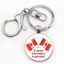 Canadian Flag Logo keychain Canada Day Celebration Keychains Silver Plated Charms Key ring Jewelry Father's Day Gift