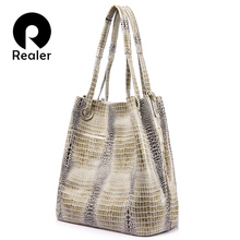 REALER brand women genuine leather handbag extra large capacity shoulder bag female fashion serpentine print leather tote bag