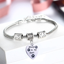 Love Beads Always In My Heart Bracelet Paws Print Dog Tag Cat Charm For Women Men Jewelry Bangle Gifts