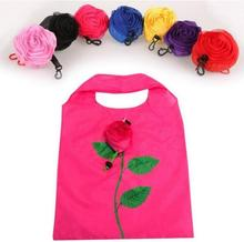 New Fashion Rose Flowers Reusable Foldable Bag Shopping Bag Travel Grocery Bags Tote Drop Shipping(China)