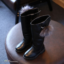 YNB Autumn Winter  Good PU Leather Gilrs Over-the -knee Boots Kids Fashion Boots Children Girl Winter Princess Shoes Black Red