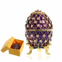 Purple Easter Metal Crafts Gifts Embroidery Russian Egg Jewelry Trinket Box Figurine for Christmas Gifts Jewelry Display Case(China)