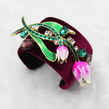 European and American fashion retro personality Baroque metal wide tulip bracelet opening big bracelet  1345