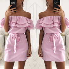 OYDDUP 2017 Summer Cute Beach Dresses Loose Sexy off Shoulder Women Dresses Striped Ruffle Fashion Mini Dress Vestidos