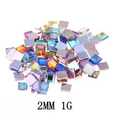 Acrylic Rhinestones FlatBack Square 2mm 1g About 300pcs For Crafts Scrapbooking DIY Clothes Nail Art Decoration(China)