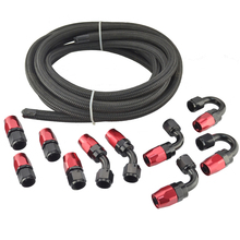 AN4 Anoized Aluminum Oil Fuel Fittings Hose End Adaptor Kit Black And Red Hose Kit AN4 Nylon Braided Hose Oil Fuel Black Hose 5M