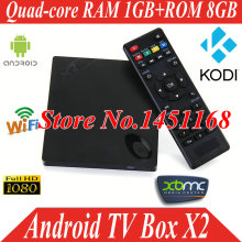 X2 Android 4.4 TV Box Fully Loaded XBMC KODI Quad Core 4K*2K H.265 1080P Smart TV Free Sports Film Movies Media Player