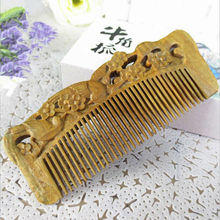 Super artful Natural sandalwood Comb Wide Tooth No-static head Massage Hair Brush Health care Hair Styling combs peine massager
