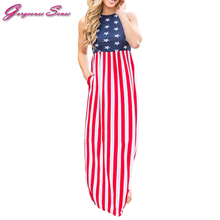 Women Summer Maxi Long Dress Ladies US Independence Day Flag Print Casual Bodycon Party Dresses 2017 Womens Sundress Vestidos