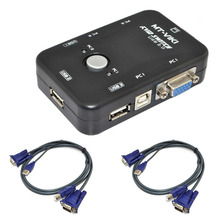 2 Port USB 2.0 KVM Switch Mouse Keyboard Video KVM Switch Kit With 2 KVM Cables(China)