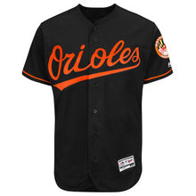 MLB Men's Baltimore Orioles Baseball Alternate Black White Orange Flex Base Authentic Collection Team Jersey(China)