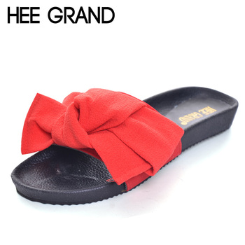 HEE GRAND Summer Beach Sandals 2017 Slip On Slippers Casual Flip Flops Platform Shoes Woman Bowtie Flats New Creepers XWZ3479