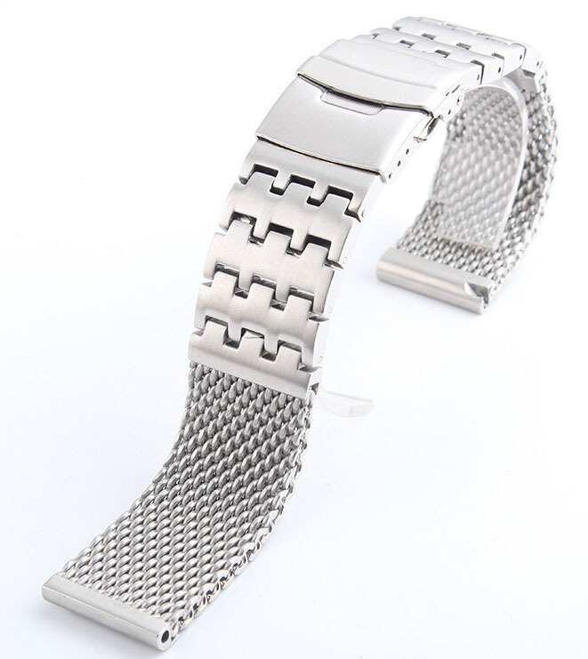 Watch band 24mm New Men Silver High Brushed Doulble Brushed Double Lock Stainless Steel Watchbands Strap Bracelets<br><br>Aliexpress