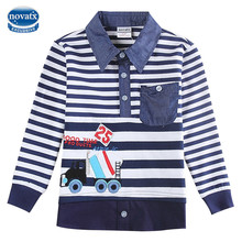 Baby Boys Clothes Boys t shirts Kids Tees Boys Winter top tees 2017 Fashion 2-6 Years Turn-down Collar Shirts for boys A5832(China)