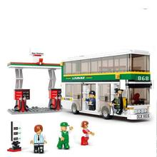 BOHS Building Blocks City Luxury Double Decker Bus Gas Station Plastic Toys for Children(China)
