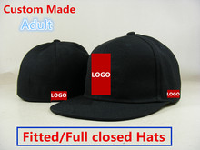 Belababy Wholesale 100 pcs/lot Custom Made Baseball Caps Men Women Sport Team Fitted Hats Full Closed Embroidery Gorras