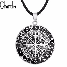 Chandler One Piece Vegvisir Necklace Norse Compass Pendant Runic Viking Torque Fashion Jewelry Man Mens Gift Drop Free Shipping