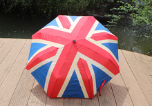 Retro 3 Folding America British Flag Umbrella Anti Sunscreen Sunshade Umbrellas Unique Designs Fashion 2016 Summer Autumn